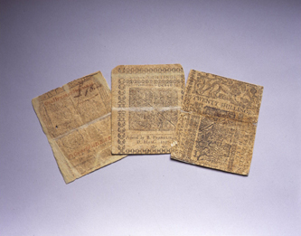 Paper currency with leaf printing, for Pennsylvania and Delaware